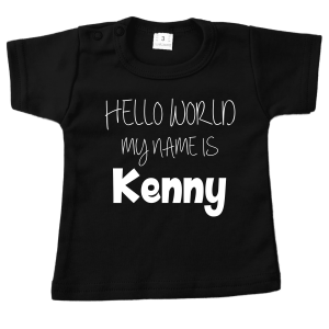t-shirt hello world zwart