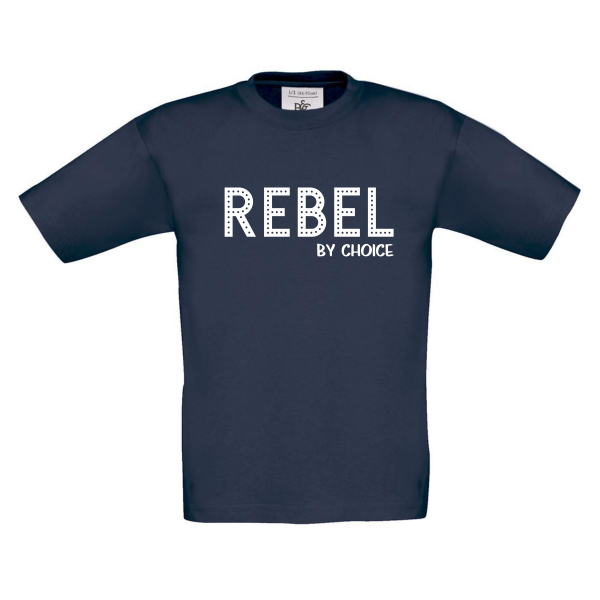 T-shirt Rebel by choice navy blauw
