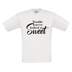 t-shirt trouble never looked so sweet wit