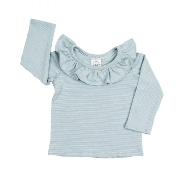 Ruffle Top Sleeved Stripy Blue