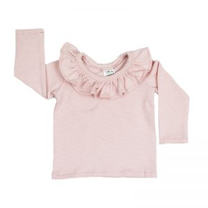 Ruffle Top Sleeved Stripy Pink