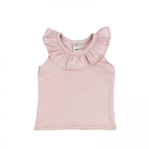 Ruffle Top Sleeveless Stripy Pink