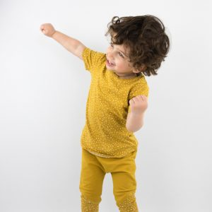 Shirt sprinkles ochre yellow shortsleeve 1